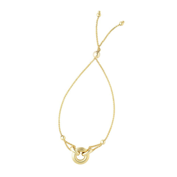 14K Yellow Gold Ring Pendant Adjustable Bracelet 9 1/4''