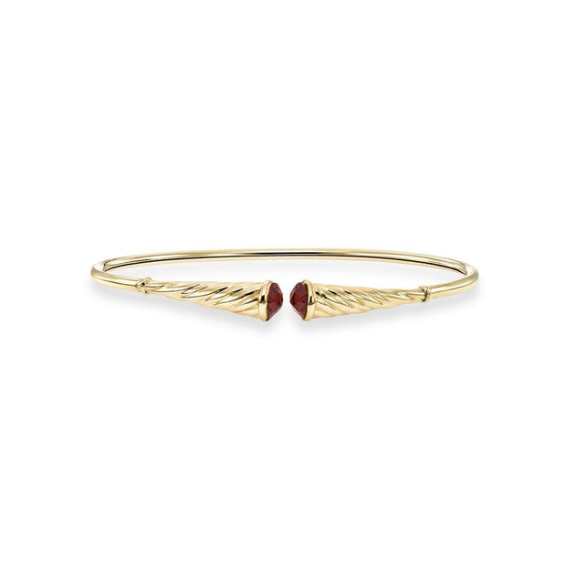 Bangle Bracelet Garnet in 14K Yellow Gold