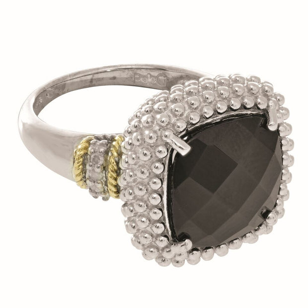 Imperial Black Onyx and Diamond Ring Set in 18K Yellow Gold and Sterling Silver