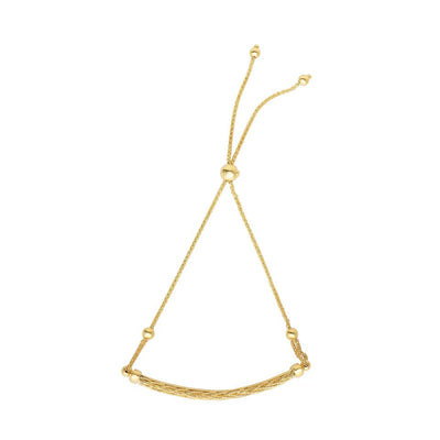 14K Yellow Gold Round Wheat Diamond Cut Weaved Horizontal Bar Adjustable Drawstring Bracelet 9 1/4""