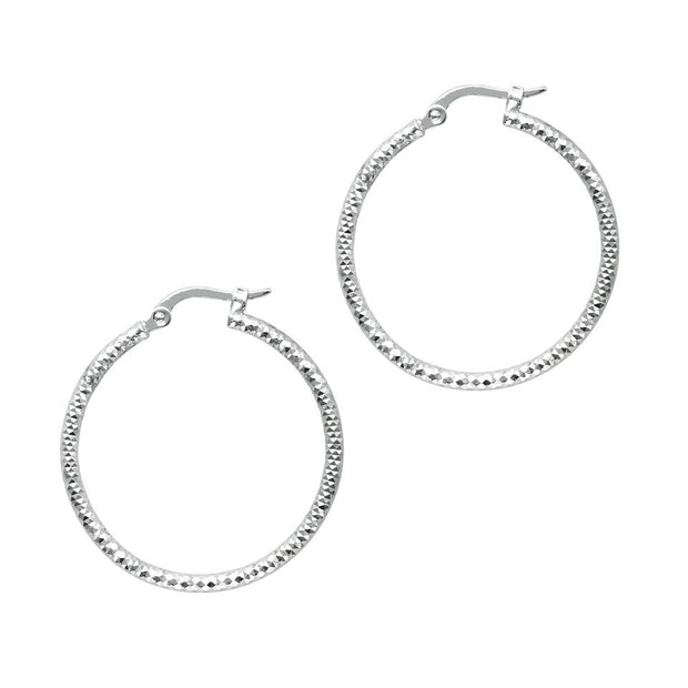 14K White Gold Sparkle Hoop Earrings | SilverAndGold