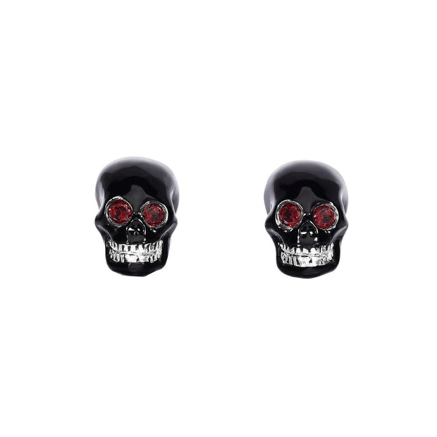 Red Garnet and Skull Cufflinks Set in Sterling Silver