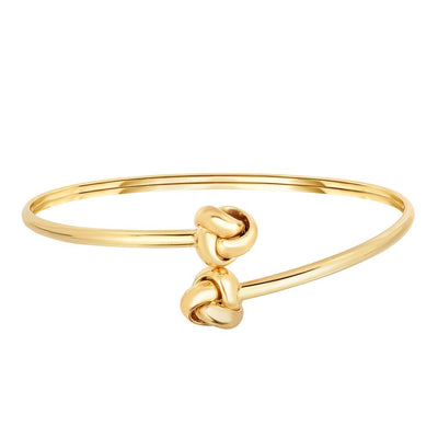 14K Yellow Gold 2.8 MM Love Knot Bangle