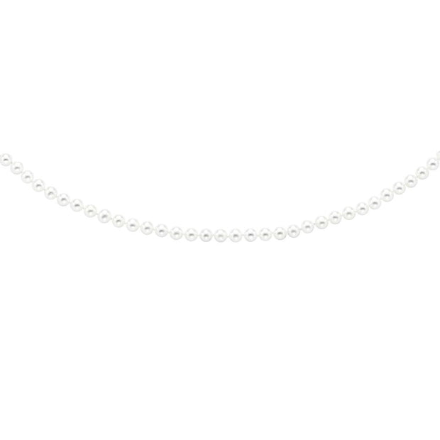 6-6.5 MM Brilliant White Pearl Necklace in 14K Yellow Gold