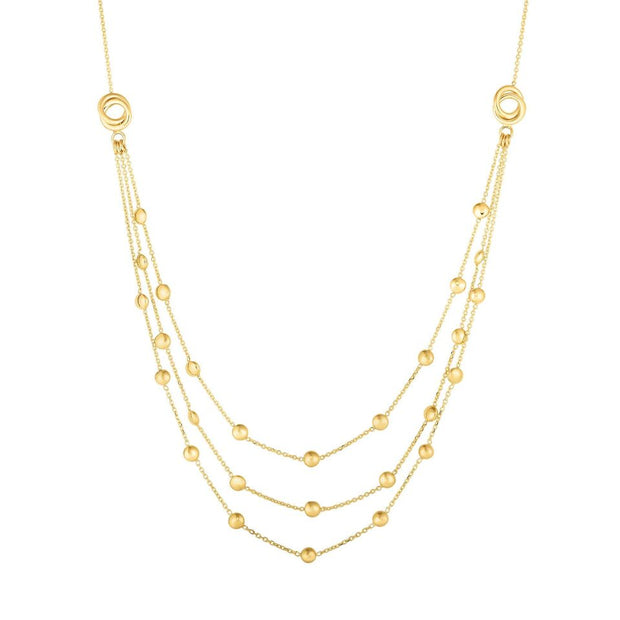 14K Yellow Gold Infinite Love Knot Layered Necklace 17''