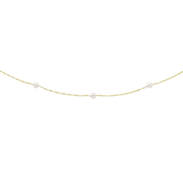 4-4.5 mm Brilliant White Pearl Tin Cup Necklace in 14K Yellow Gold