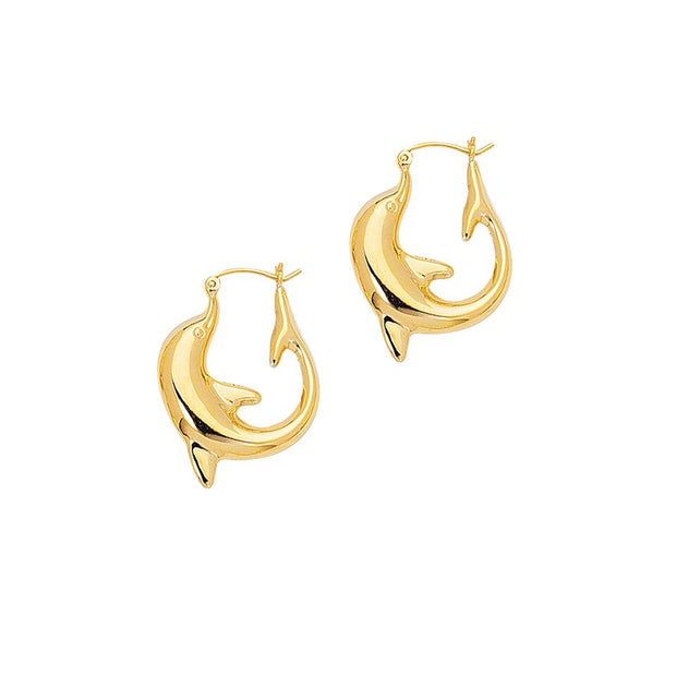 14K Yellow Gold Large Dolphin Hoop Earrings | SilverAndGold