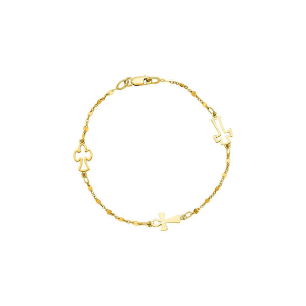 14K Yellow Gold Cross Bracelet 7""