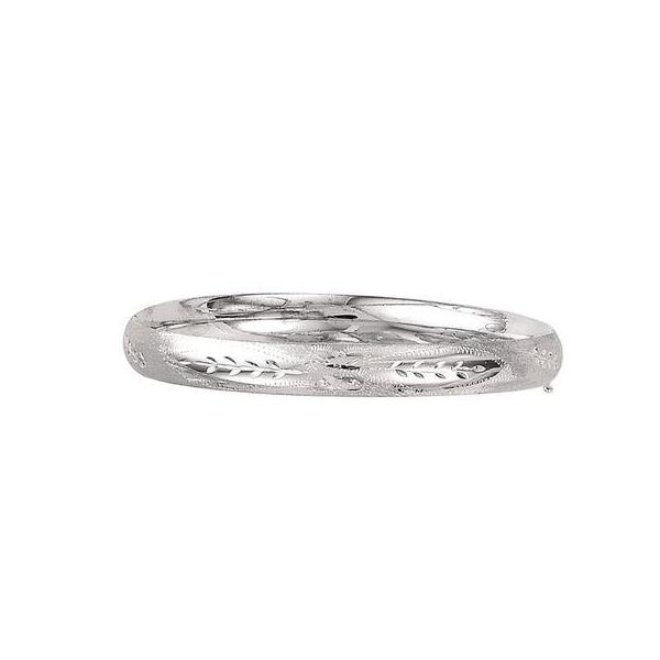 14K White Gold 8.0 MM Intricate Florentine Bangle