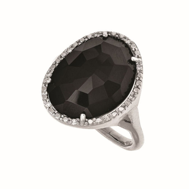 Rhodium finished Sterling Silver Onyx Ring with 0.05 TCW Diamonds