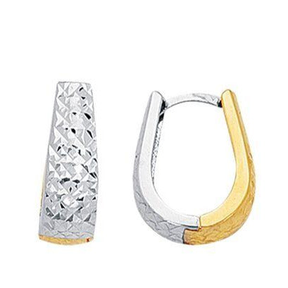 14K Yellow & White Gold Diamond Cut Earrings | SilverAndGold