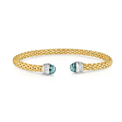 14K Yellow Gold And Sky Blue Topaz 0.09 TCW Natural Diamond Popcorn Bangle