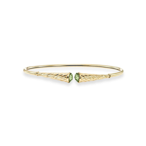 Peridot Bangle Bracelet in 14K Yellow Gold