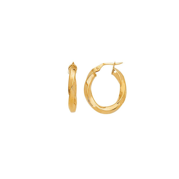 14K Yellow Gold Twisted Hoop Earrings | SilverAndGold