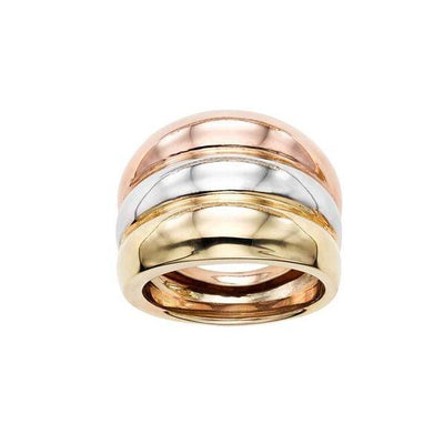 14K Tri-Color Gold Faux Stacked Ring