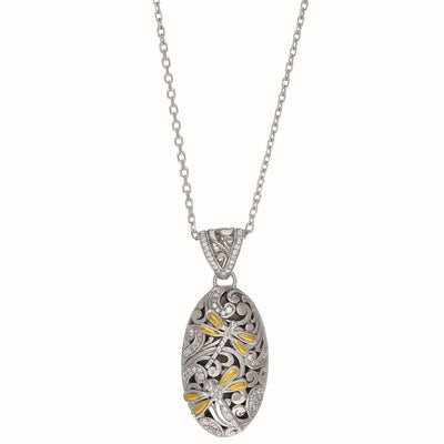 18K Yellow Gold and Sterling Silver Dragonfly Necklace with 0.43 TCW Diamonds 18''