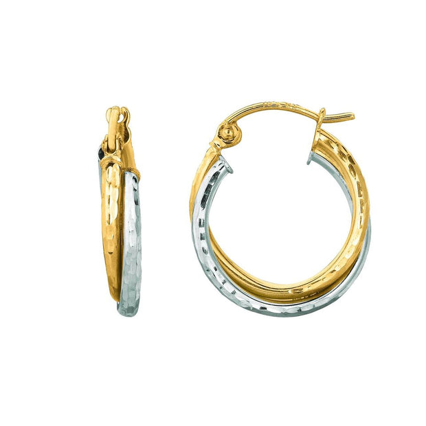 14K Yellow And White Gold Diamond Cut Double Row Hoop Earrings