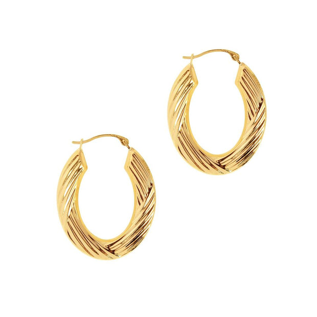 14K Yellow Gold Textured Oval Hoop Earrings | SilverAndGold