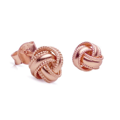 14K Rose Gold Plated Sterling Silver Love Knot Earrings with Rope Detail