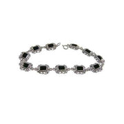 Silver Bracelet: Filigree Sterling and Hand-Cut Black Onyx - SilverAndGold.com Silver And Gold