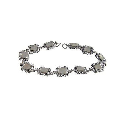 Filigree Sterling Silver and Hand-Cut Mother of Pearl Bracelet - SilverAndGold.com Silver And Gold
