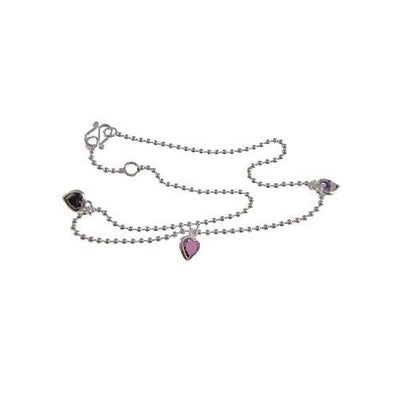 Silver Bracelet: Sterling and Amethyst Hearts Bracelet - SilverAndGold.com Silver And Gold