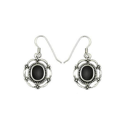 Black Onyx & French Empire Scroll Silver Earrings | SilverAndGold