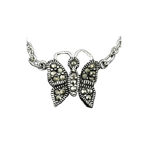 Marcasite Butterfly Necklace & Sterling Silver Chain
