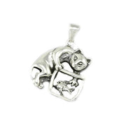 Sterling Silver Kitten In Fishbowl Pendant