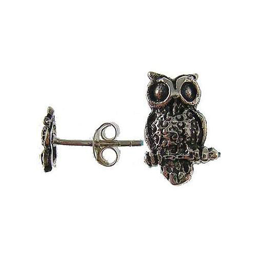 Sterling Silver Wise Owl Stud Earrings | SilverAndGold