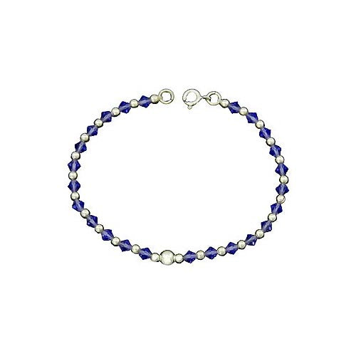 Sterling Silver Bracelet: Cut Light Blue Crystal - SilverAndGold.com Silver And Gold