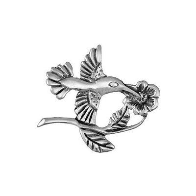 Sterling Brooch Pin: Flower and Hummingbird - SilverAndGold.com Silver And Gold