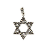 Sterling Charms: Jewel Encrusted Star of David (Marcasite Jewels) - SilverAndGold.com Silver And Gold