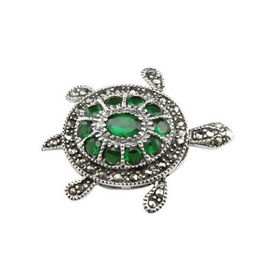 Jewel Encrusted Turtle Sterling Silver Pendant - SilverAndGold.com Silver And Gold