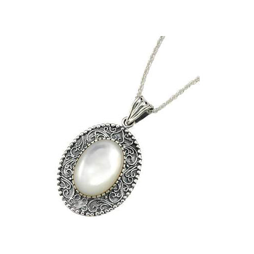 Sterling & Mother of Pearl Necklace - SilverAndGold.com Silver And Gold