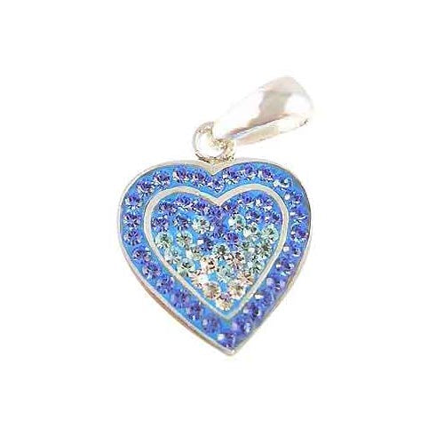Sterling Pendant: Swarovski Crystal Blue Heart - SilverAndGold.com Silver And Gold