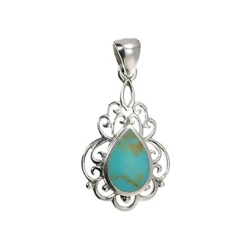 Sterling Silver and Turquoise Pendant - SilverAndGold.com Silver And Gold