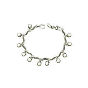 Sterling Silver Bracelet: Dangle White Pearl and Marcasite Silver - SilverAndGold.com Silver And Gold