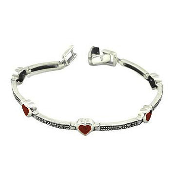 Garnet Heart Gemstone And Marcasite Bands Bracelet in Sterling Silver