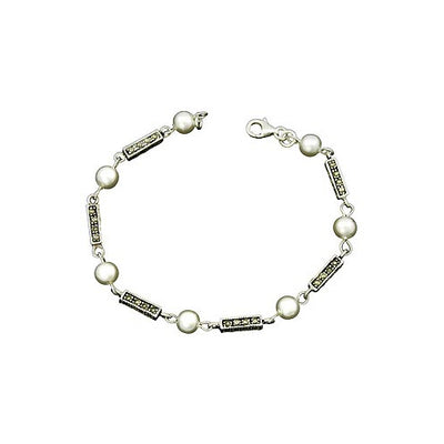 Sterling Silver Bracelet: White Pearl and Marcasite Silver - SilverAndGold.com Silver And Gold