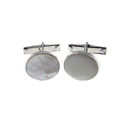 Sterling Silver Cuff Links - Classic Sterling Silver Pearl White - SilverAndGold.com Silver And Gold