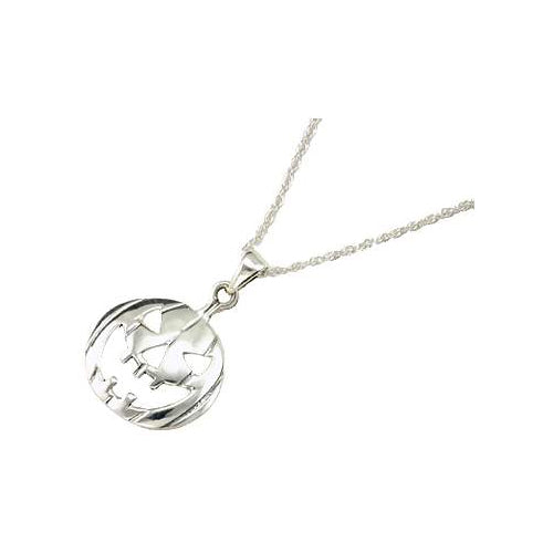 Sterling Silver Jack-O-Lantern Necklace - SilverAndGold.com Silver And Gold