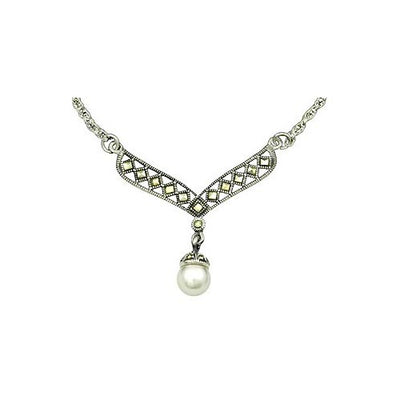 Sterling Silver Necklace: Ornate Silver Marcasites and Pearl Pendant - SilverAndGold.com Silver And Gold