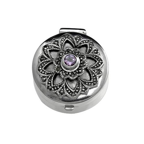 Sterling Silver: Round Shape Box (Amethyst and Marcasite Gemstones) - SilverAndGold.com Silver And Gold