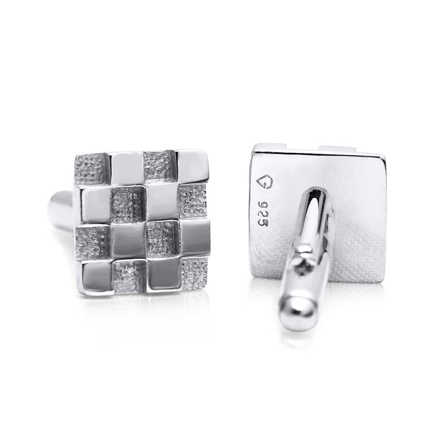 Classic Checkerboard Cufflinks in Sterling Silver