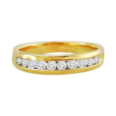 Natural Diamond 0.50 TCW 14K Yellow Gold Comfort Fit Channel Set Men's Wedding Band Ring - SilverAndGold.com Silver And Gold