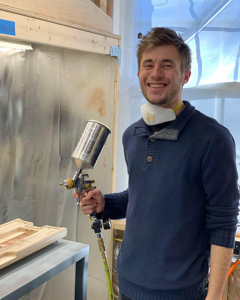 Crosby in the Harpejji Paint Booth