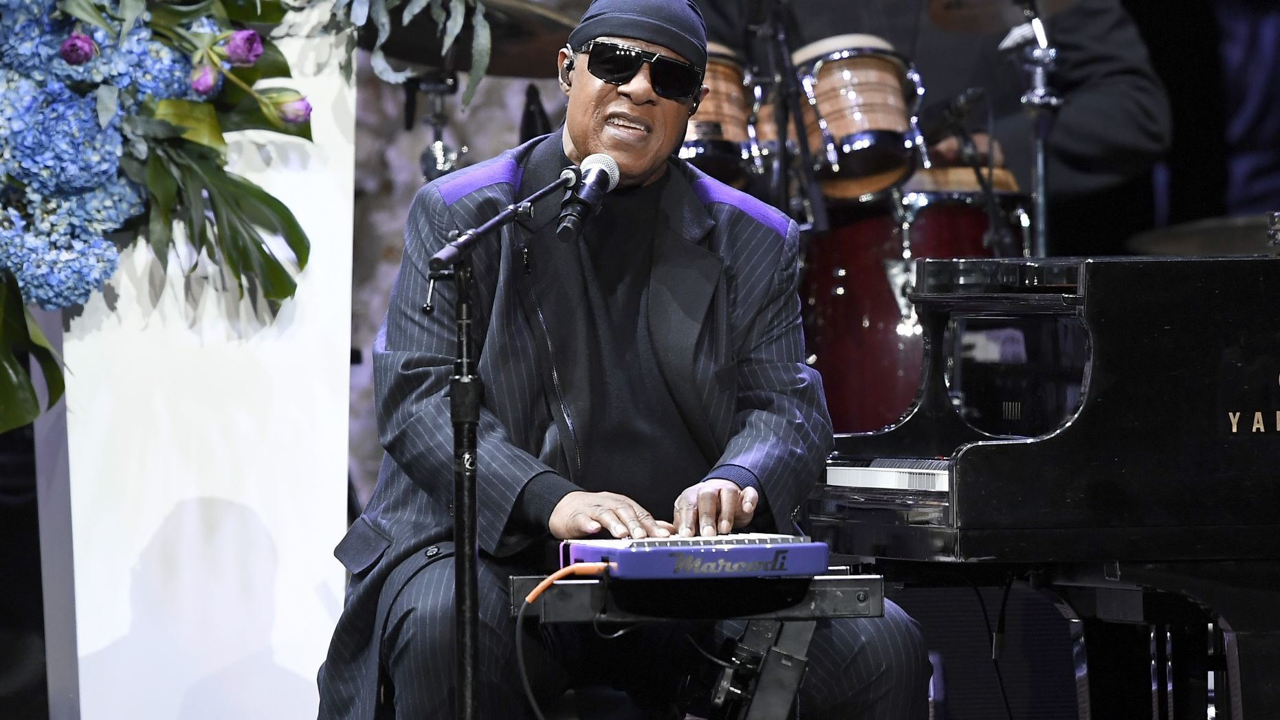 "Stevie Wonder playing Clapton's ""Tears In Heaven"" at Nipsey Hussle's memorial service on April 11, 2019. (Photo by Kevork Djansezian/Getty Images for Atlantic Records)"