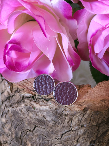Delilah Plum Leather Stud - Bucklicious Designs