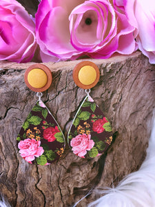 Peppy Floral Dangle Mustard - Bucklicious Designs